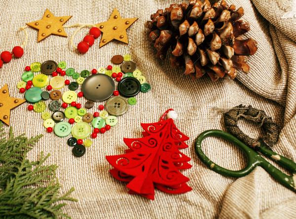 Handgemaakt christmas geschenken puinhoop speelgoed kaarsen Stockfoto © iordani