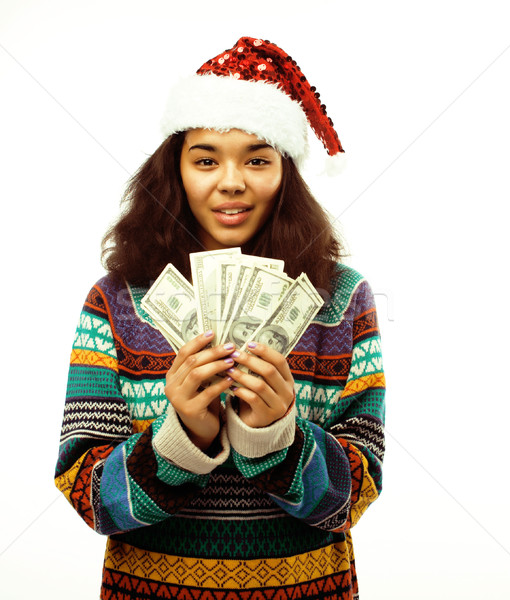 cute young real african hipster girl in santas red hat isolated  Stock photo © iordani