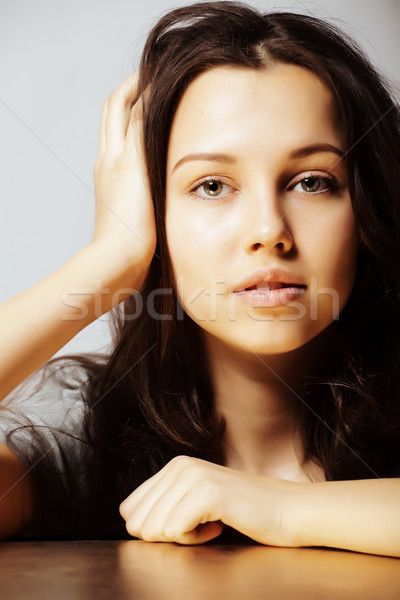 young pretty taned girl close up portrait smiling confident brun Stock photo © iordani