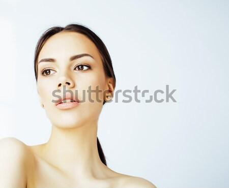 Jovem bastante asiático mulher mãos cara Foto stock © iordani