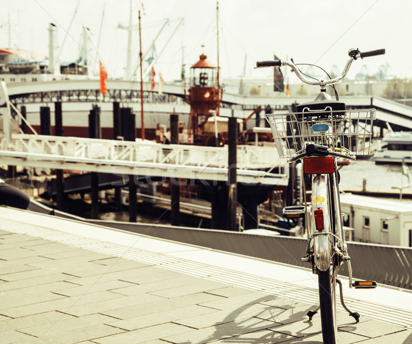 post card city view from vintage bicycle, riverside Germany, Ham Stock photo © iordani
