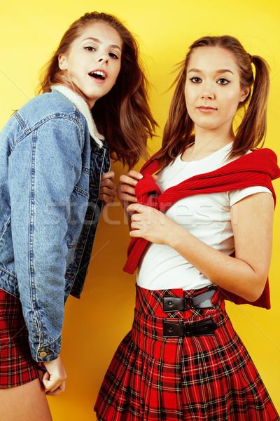 Lifestyle mensen twee mooie schoolmeisje Stockfoto © iordani
