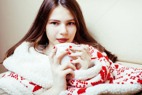 Foto stock: Jovem · bastante · morena · menina · natal · ornamento