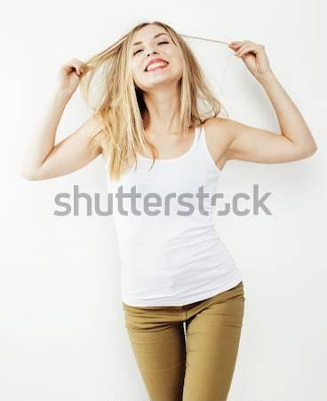 Młodych dość blond włosy kobieta szczęśliwy uśmiechnięty Zdjęcia stock © iordani