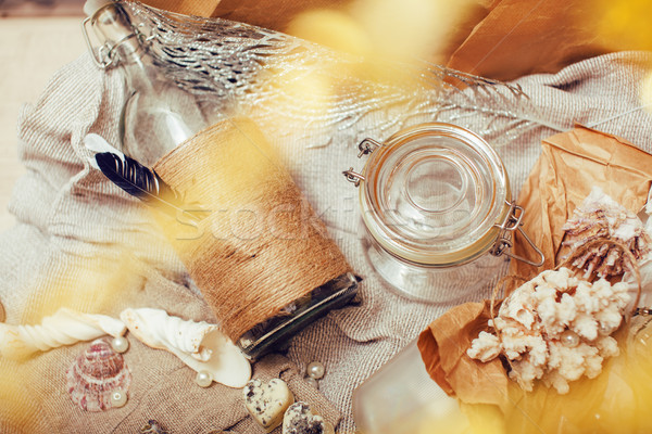 Deniz karışıklık gibi kabukları mumlar parfüm Stok fotoğraf © iordani