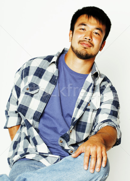 Stock photo: young handsome asian man hipster in glasses on white background,