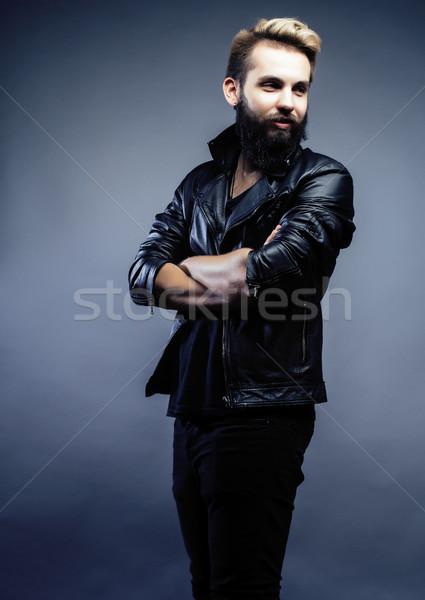 Ritratto giovani barbuto ragazzo grigio Foto d'archivio © iordani
