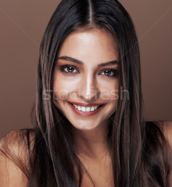 cute happy young indian woman in studio close up smiling, fashion mulatto, lifestyle people concept Stock photo © iordani