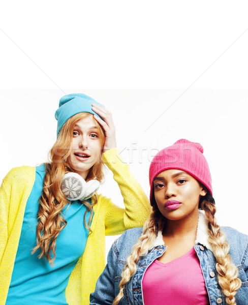 diverse nation girls group, two diverse rase teenage friends com Stock photo © iordani