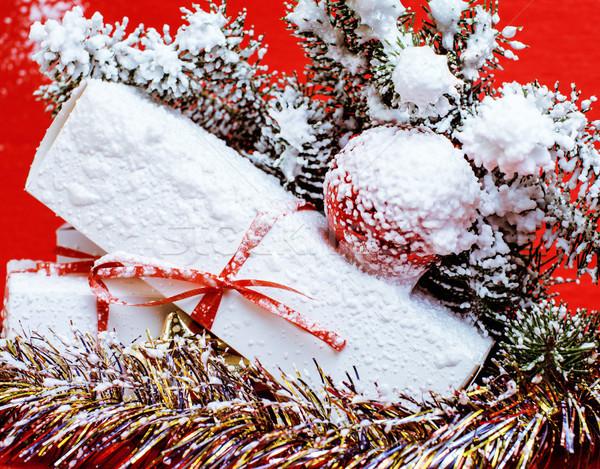 new year celebration, Christmas holiday stuff, tree, toys, decor Stock photo © iordani