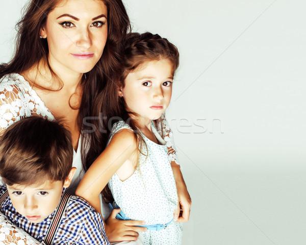 Giovani madre due bambini bianco felice Foto d'archivio © iordani