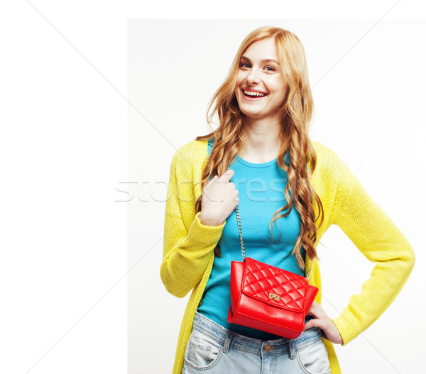 young pretty long hair woman happy smiling isolated on white bac Stock photo © iordani