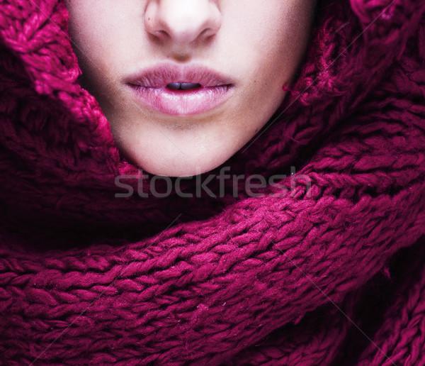 Jeunes jolie femme lèvres chandail écharpe tous Photo stock © iordani