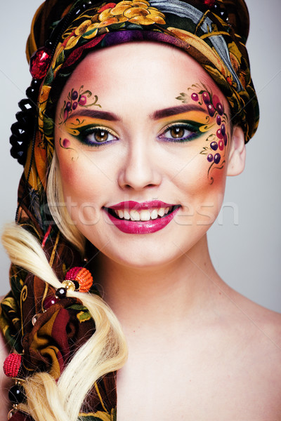 Portre çağdaş yüz sanat yaratıcı yakın Stok fotoğraf © iordani