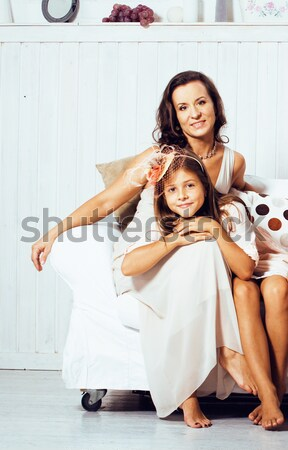 Olgun ikizler ev küçük kız Stok fotoğraf © iordani