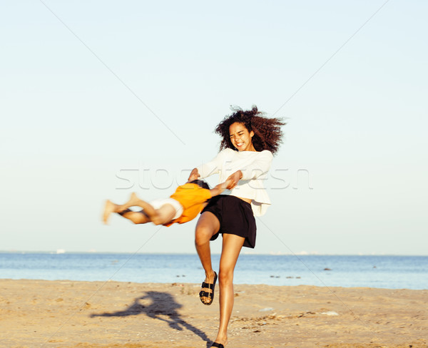 довольно нация возраст друзей морем Сток-фото © iordani