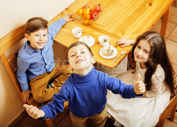 かわいい 男の子 食べ デザート 木製 ストックフォト © iordani