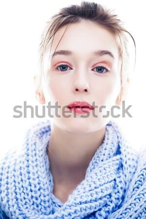 Młodych real blond kobieta szalik odizolowany Zdjęcia stock © iordani