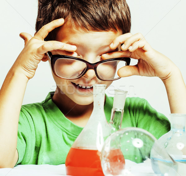 little cute boy with medicine glass isolated wearing glasses smi Stock photo © iordani