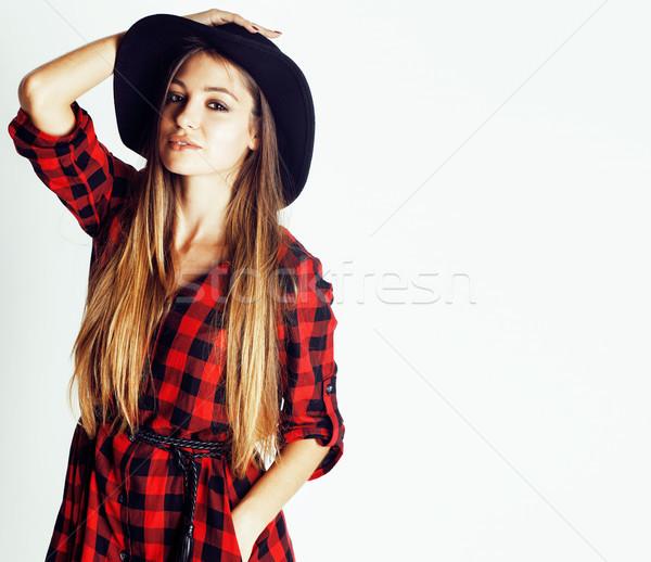 Fiatal csinos barna hajú lány hipszter kalap Stock fotó © iordani