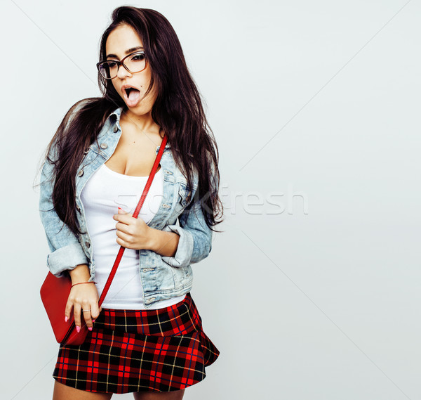 young happy smiling latin american teenage girl emotional posing Stock photo © iordani