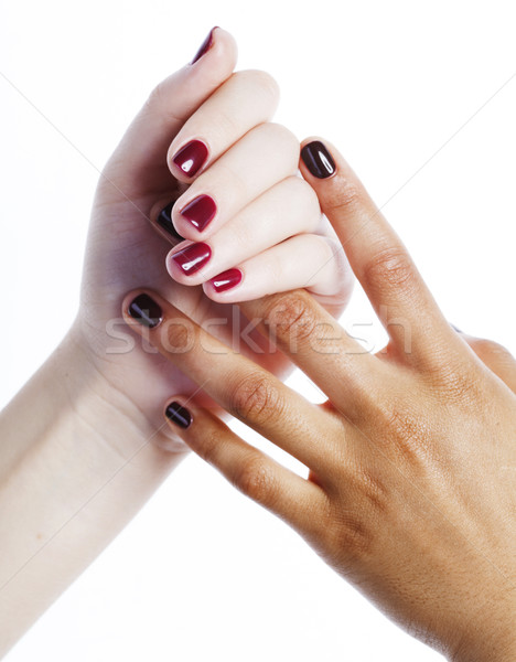 Manicured hands on white isolated, african with caucasian close up, connection diverse people concep Stock photo © iordani