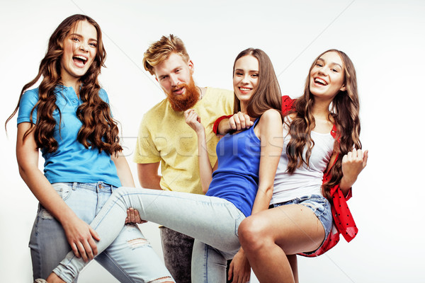 Stock photo: company of hipster guys, bearded red hair boy and girls students having fun together friends, divers