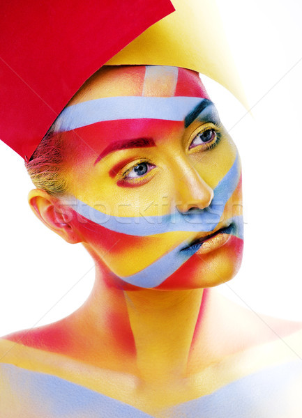 woman with creative geometry make up, red, yellow, blue closeup  Stock photo © iordani