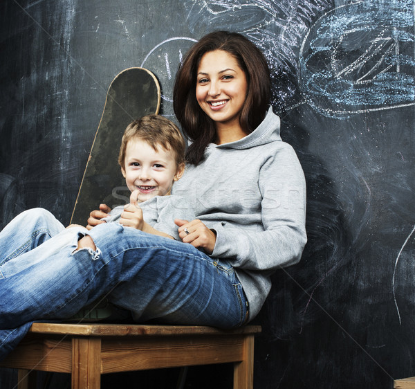 Jovem sessão irmão sala de aula Foto stock © iordani