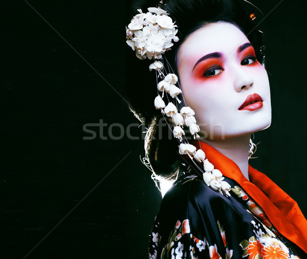 geisha in kimono on black Stock photo © iordani