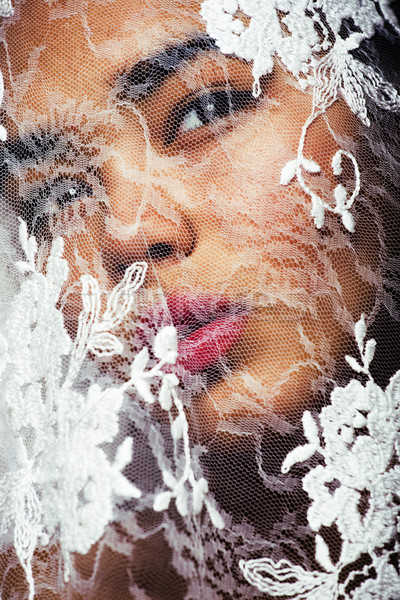 portrait of beauty young afro woman through white lace, like new Stock photo © iordani