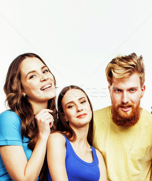 company of hipster guys, bearded red hair boy and girls students Stock photo © iordani
