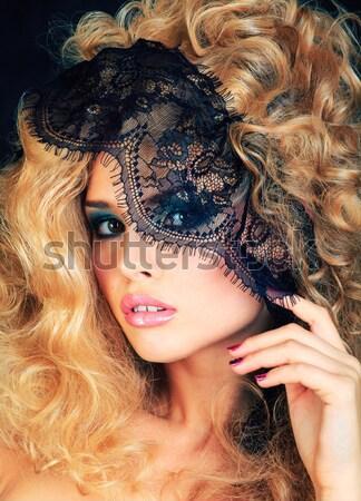 Nő kreatív smink ahogy kígyó patkány Stock fotó © iordani