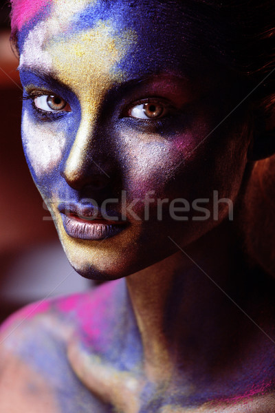 beauty woman with creative make up like Holy celebration in Indi Stock photo © iordani