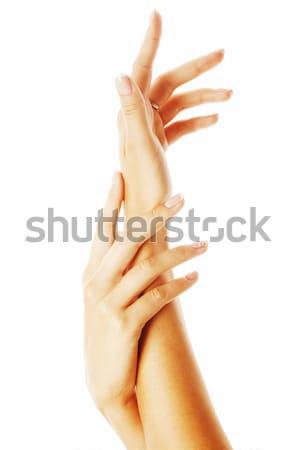 Szépség kezek manikűr tart virág liliom Stock fotó © iordani