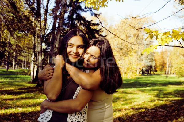 Reifen wirklich Mutter Tochter außerhalb Herbst Stock foto © iordani