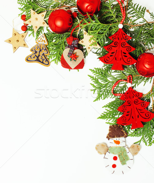 christmas decoration isolated , white background for post card gift vintage, copyspace for text, fas Stock photo © iordani