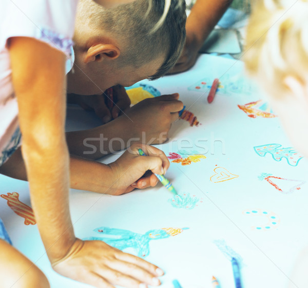 little cute boy with company painting on birthday party Stock photo © iordani