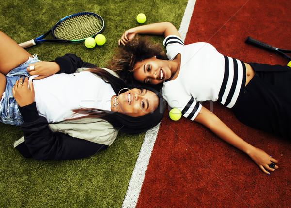 Сток-фото: молодые · довольно · подвесной · теннисный · корт · моде