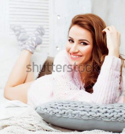 молодые довольно брюнетка девушки Сток-фото © iordani