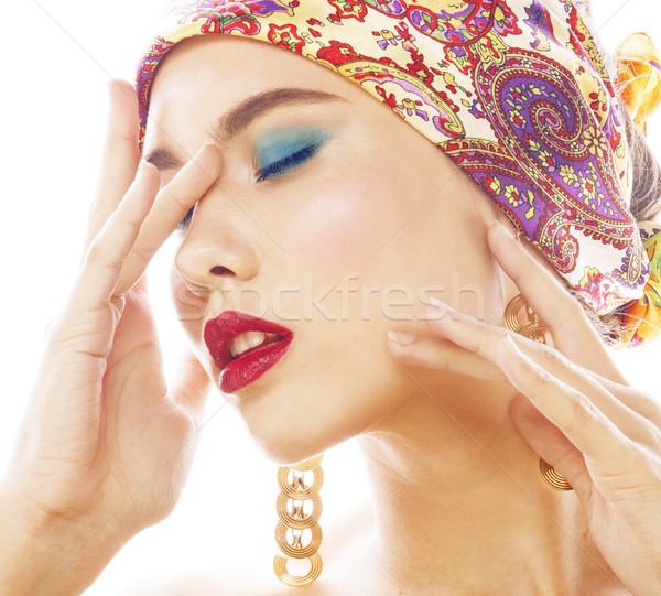 Fiatal csinos modern lány fényes fej Stock fotó © iordani