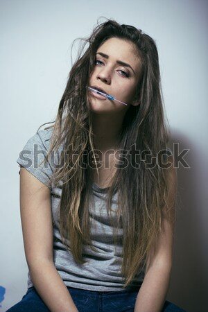 Stock photo: young pretty sexy woman in leather jacket, lifestyle hipster gir
