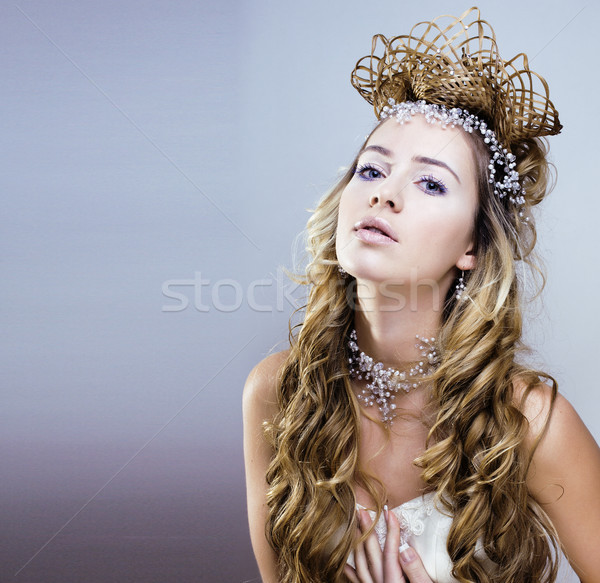 beauty young snow queen with hair crown on her head Stock photo © iordani