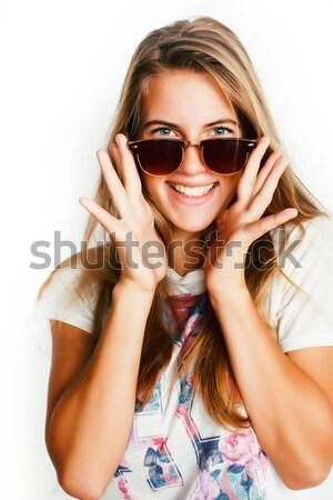 pretty young woman wearing sunglasses and summer hat, fashion pe Stock photo © iordani