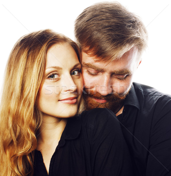 young tender couple, man and woman in love isolated on white, fo Stock photo © iordani