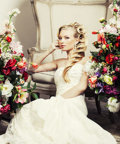 beauty young bride alone in luxury vintage interior with flowers Stock photo © iordani