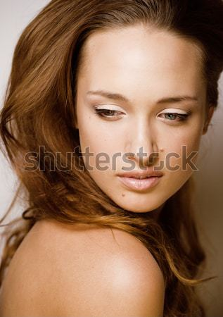 beauty young brunette sad woman close up, nude makeup, lifestyle real people concept on white backgr Stock photo © iordani