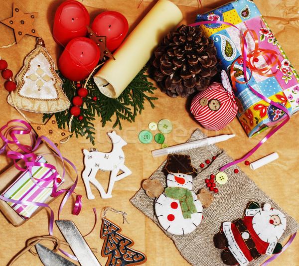 Hecho a mano regalos tijeras cinta papel Foto stock © iordani