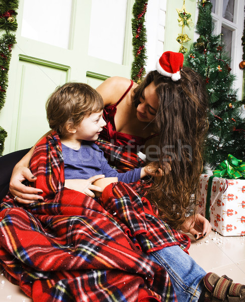 happy smiling family on Christmas at house with gifts, young mot Stock photo © iordani