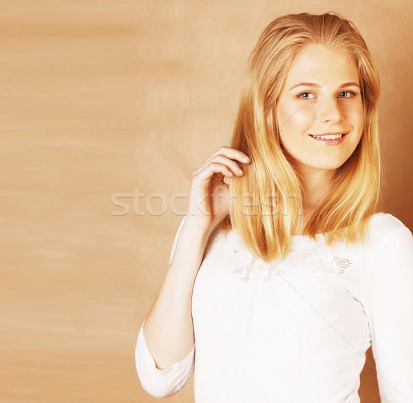 Stockfoto: Jonge · cool · tienermeisje · haren · glimlachend